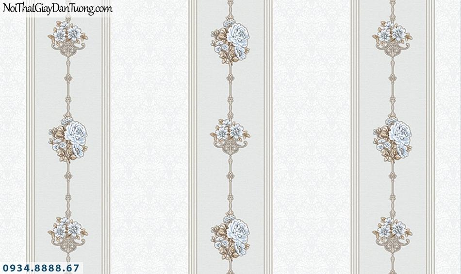 FLORIA | Giấy dán tường Floria 7709-3 | giấy dán tường kẻ sọc hoa leo, màu kem, trắng kem, giấy sọc bông