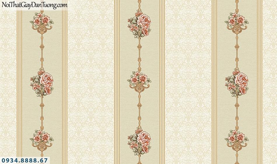 FLORIA | Giấy dán tường Floria 7709-4 | giấy dán tường sọc bông hoa màu vàng cam, giấy sọc hoa kết thành dây leo