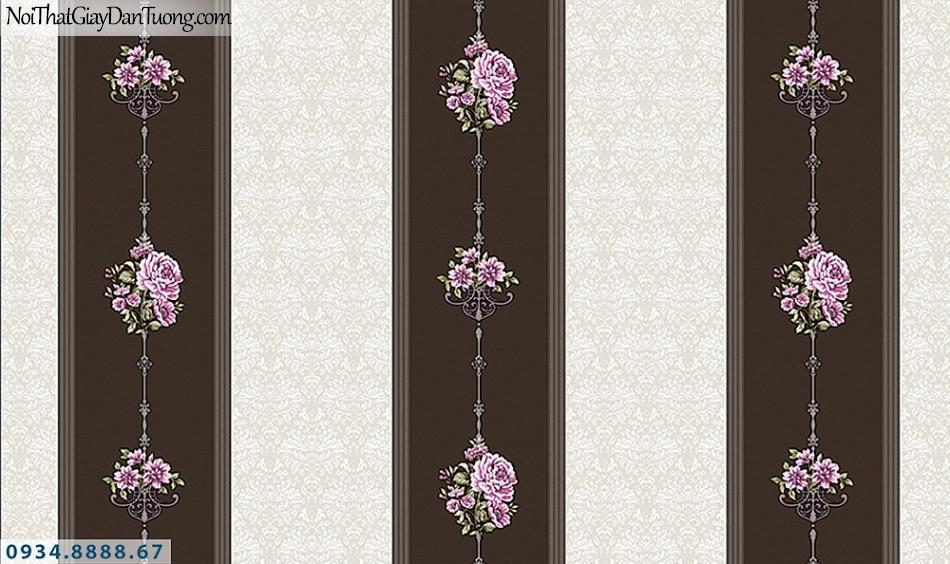 FLORIA | Giấy dán tường Floria 7709-5 | giấy dán tường kẻ sọc trắng đen, giấy sọc màu đen màu kem, hoa văn họa tiết hoa leo tường