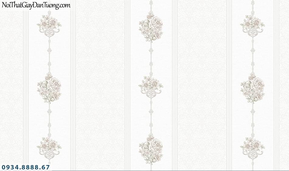 FLORIA | Giấy dán tường Floria 7709-6 | giấy dán tường kẻ sọc bông màu trắng, phong cách cổ điển