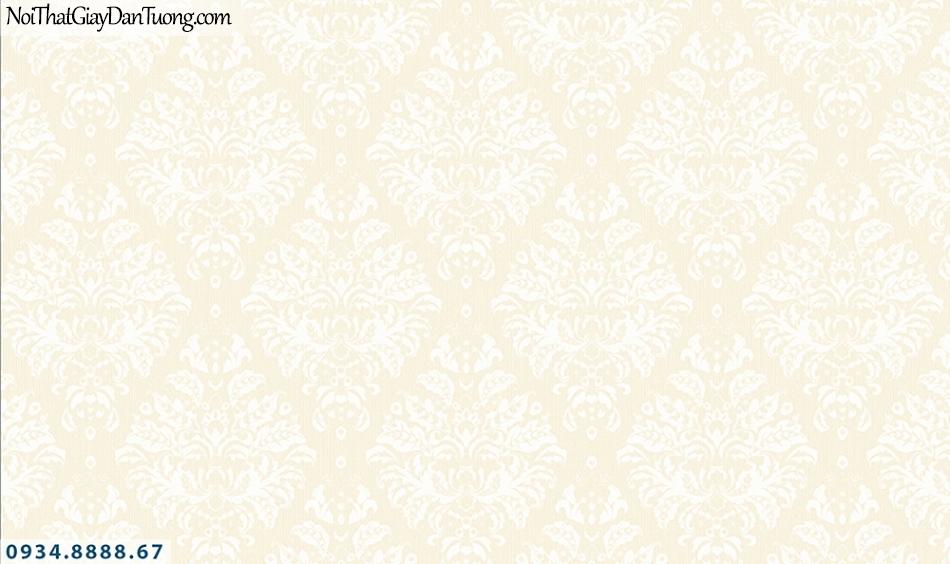 FLORIA | Giấy dán tường Floria 7710-1 | giấy dán tường màu vàng kem, hoa văn cổ điển, hình lập thể ca rô