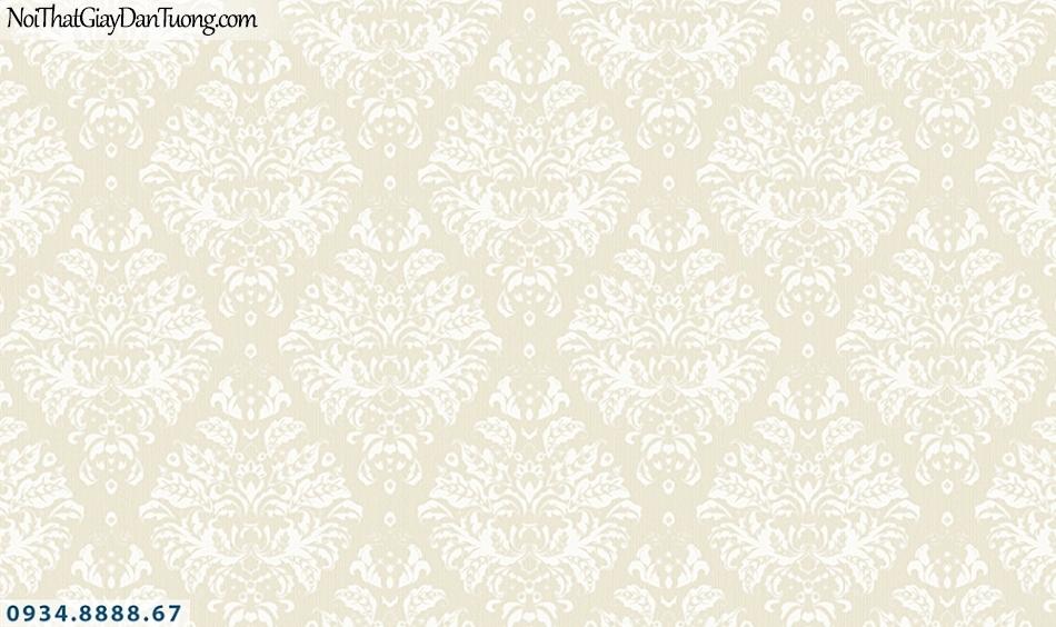 FLORIA | Giấy dán tường Floria 7710-4 | giấy dán tường màu vàng kem, hoa văn cổ điển, bông hoa lớn, hoa to