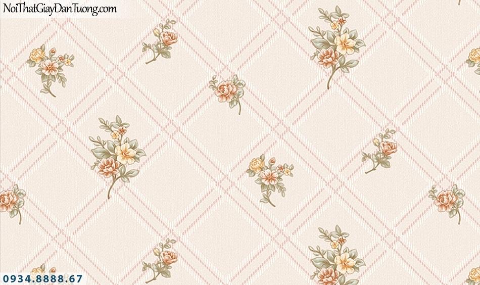 FLORIA | Giấy dán tường Floria 7711-2 | giấy dán tường họa tiết ca rô, hình thoi, những bông hoa nhỏ rơi đều, màu hồng