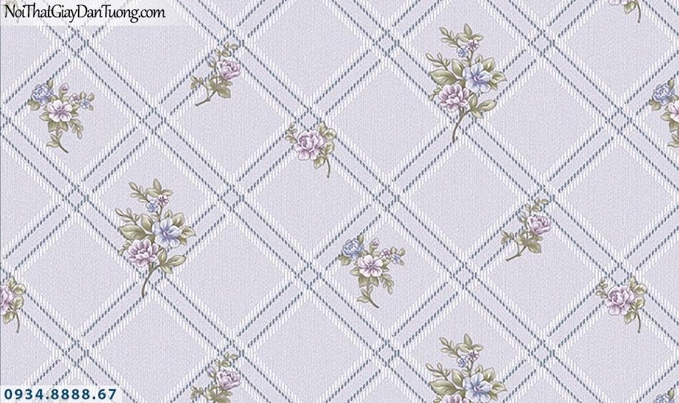 FLORIA | Giấy dán tường Floria 7711-4 | giấy dán tường màu tím, hình ca rô, nhiều bông hoa nhỏ