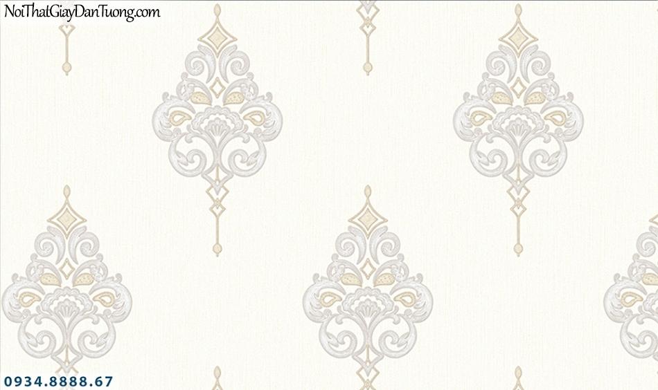 FLORIA | Giấy dán tường Floria 7713-1 | giấy dán tường màu kem, hình lập thể họa tiết cổ điển, phong cách Châu Âu