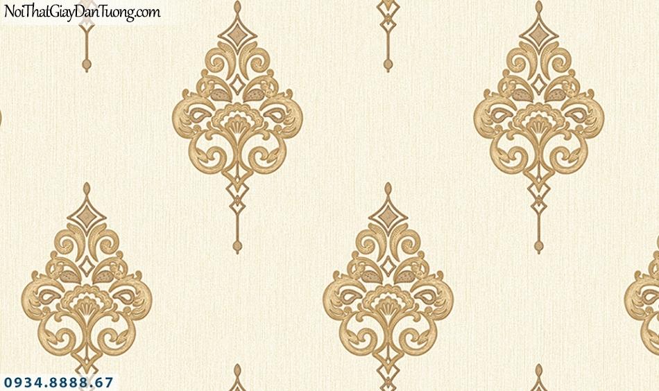 FLORIA | Giấy dán tường Floria 7713-2 | giấy dán tường màu vàng, hoa văn cổ điển, phong cách Châu Âu