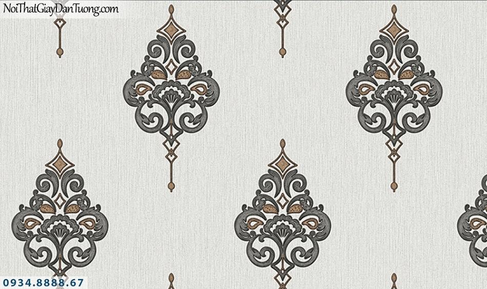 FLORIA | Giấy dán tường Floria 7713-3 | giấy dán tường hoa văn cổ điển màu xám, màu đen, phong cách Châu Âu