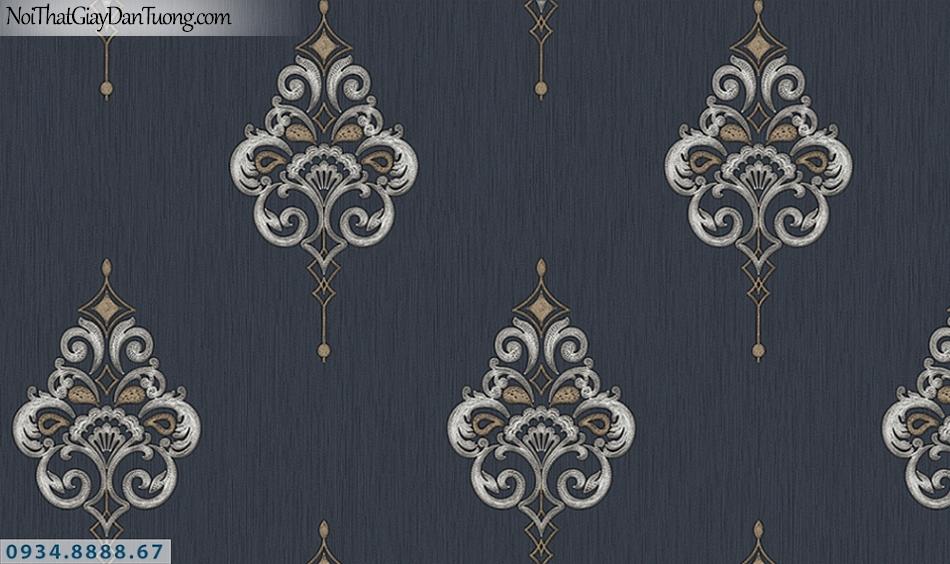 FLORIA | Giấy dán tường Floria 7713-4 | giấy dán tường màu đen, hoa văn cổ điển, style Châu Âu