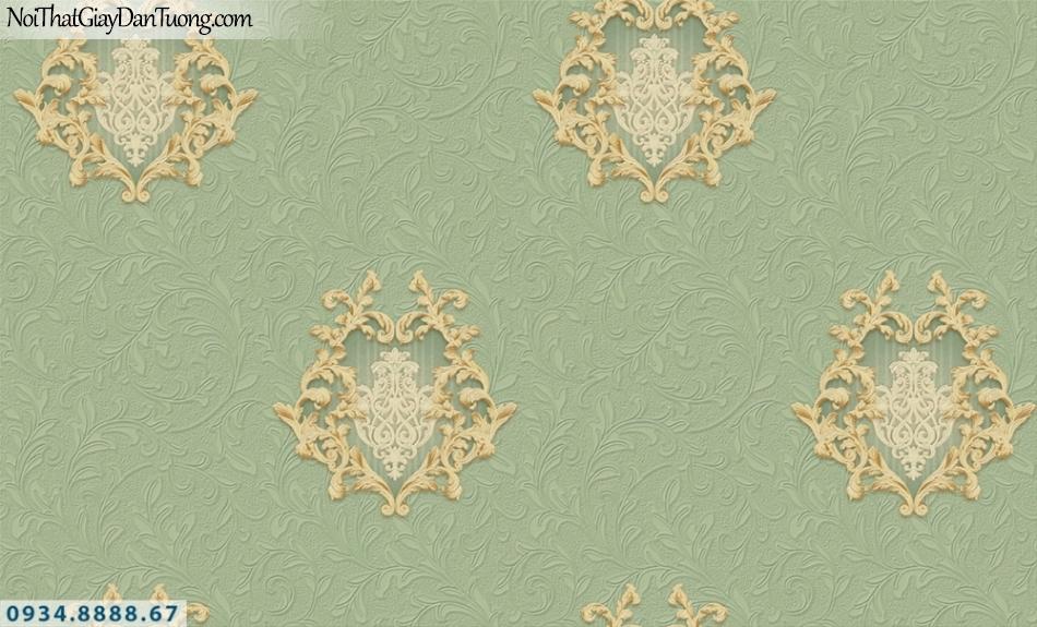 FIESTA | Giấy dán tường 3D màu xanh ngọc, những hoa văn họa tiết trong nền màu xanh lá cây, xanh cốm | Giấy dán tường Fiesta 23005