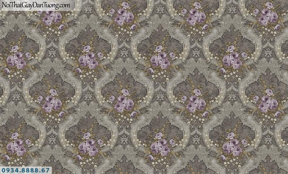 FIESTA | Giấy dán tường hoa văn cổ điển màu đen, những khóm bông hoa màu tím| Giấy dán tường Fiesta 23023