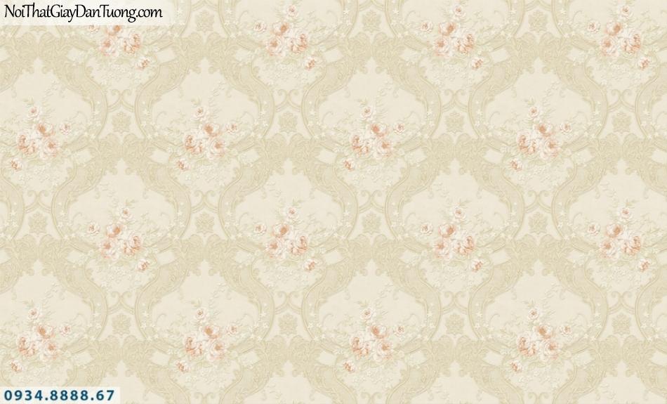 FIESTA | Giấy dán tường hoa văn cổ điển màu vàng kem, màu kem đẹp | Giấy dán tường Fiesta 23025