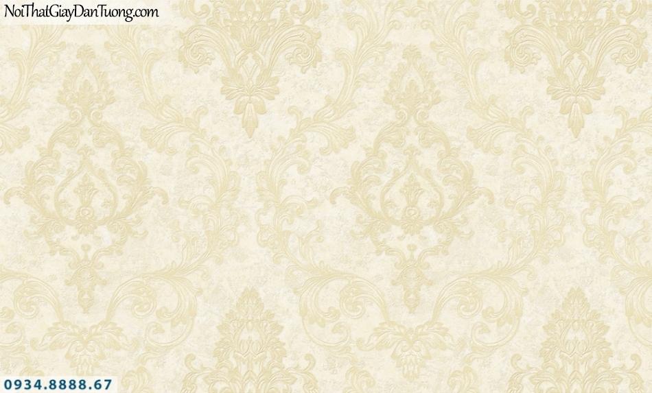 FIESTA | Giấy dán tường hoa văn cổ điển màu vàng kem, phong cách Châu Âu sang trọng | Giấy dán tường Fiesta 23201
