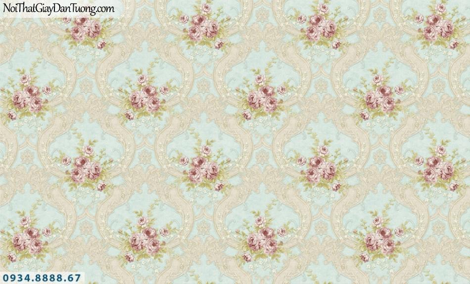 FIESTA | Giấy dán tường hoa văn cổ điển màu xanh lơ, những chùm hoa đỏ đẹp | Giấy dán tường Fiesta 23021