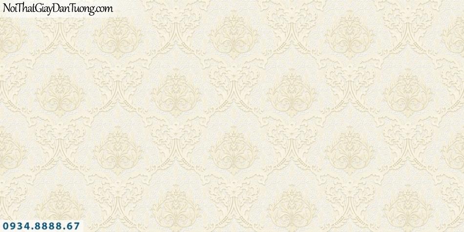 FIESTA | Giấy dán tường hoa văn họa tiết cổ điển Châu Âu màu vàng kem | Giấy dán tường Fiesta 23044