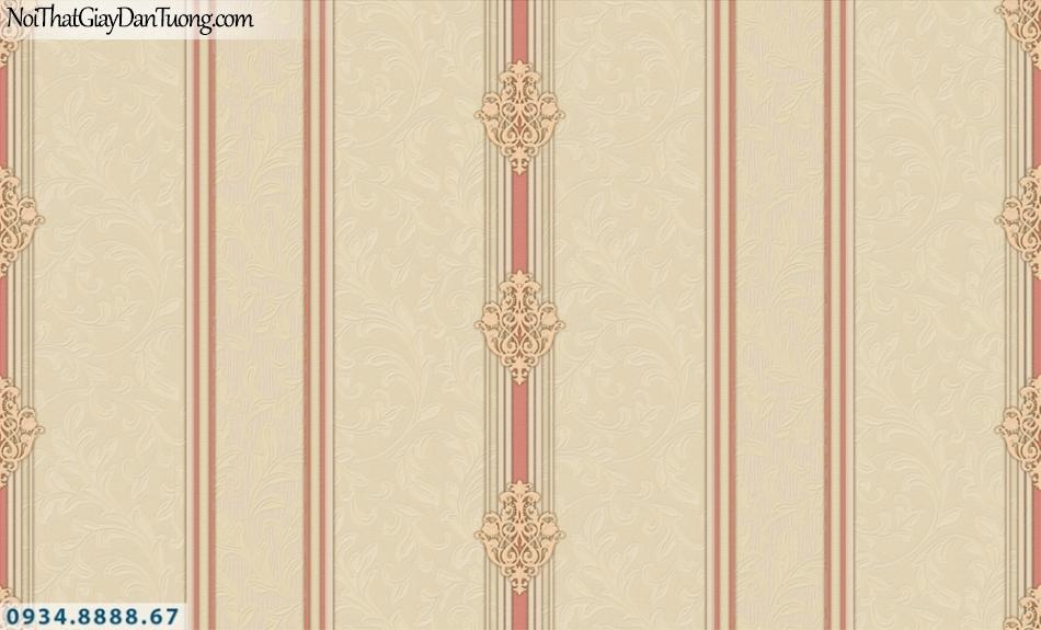 FIESTA | Giấy dán tường kẻ sọc màu vàng cam, màu đỏ, giấy sọc lớn, sọc nhỏ | Giấy dán tường Fiesta 23074