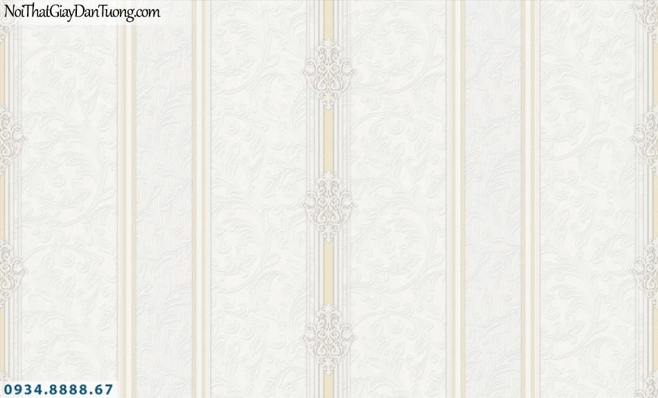 FIESTA | Giấy dán tường kẻ sọc vàng kem trên nền hoa văn màu trắng kem, sọc to, sọc lớn | Giấy dán tường Fiesta 23071