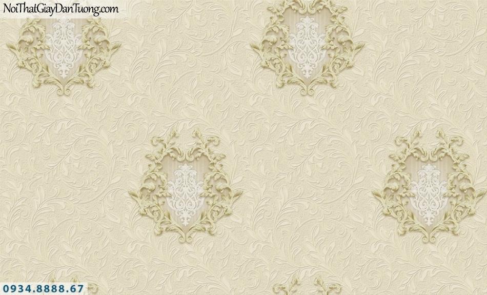 FIESTA | Giấy dán tường màu vàng kem 3D, hoa văn họa tiết 3D đẹp | Giấy dán tường Fiesta 23003