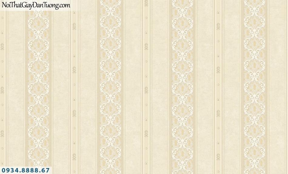 FIESTA | Giấy dán tường sọc bông, hoa văn kẻ sọc màu vàng kem, sọc to, sọc đứng, sọc thẳng đều | Giấy dán tường Fiesta 23085