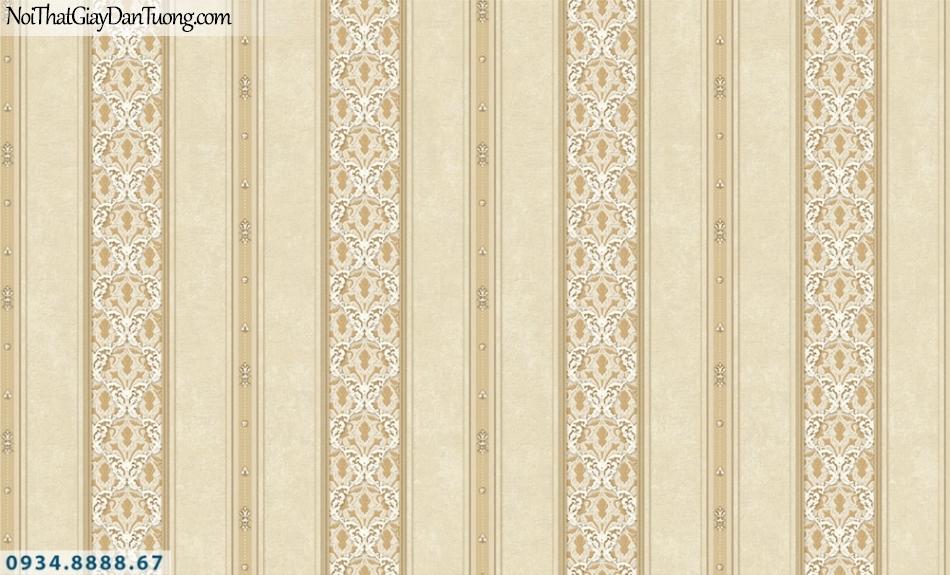 FIESTA | Giấy dán tường sọc màu vàng kem, giấy kẻ sọc lớn, sọc to, hoa văn sọc | Giấy dán tường Fiesta 23083