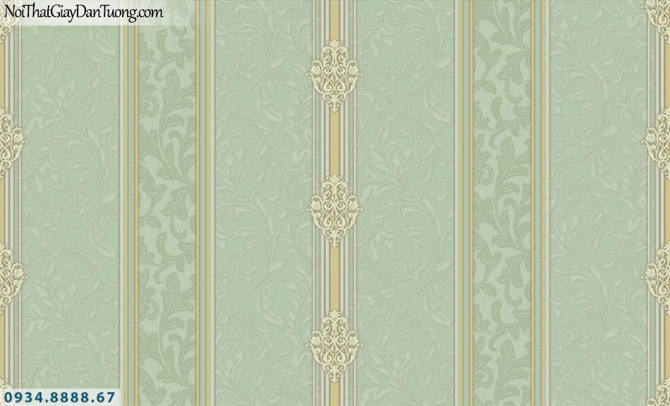 FIESTA | Giấy dán tường sọc màu xanh ngọc, xanh lá cây, xanh cốm, sọc bông hoa | Giấy dán tường Fiesta 23075