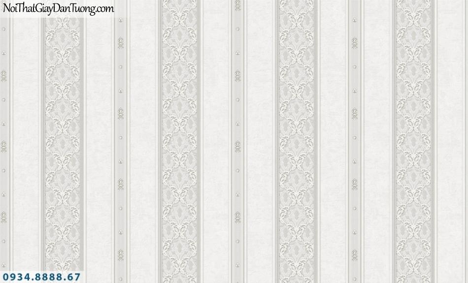 FIESTA | Giấy dán tường sọc to màu xám, sọc lớn nhỏ, sọc bông hoa | Giấy dán tường Fiesta 23081