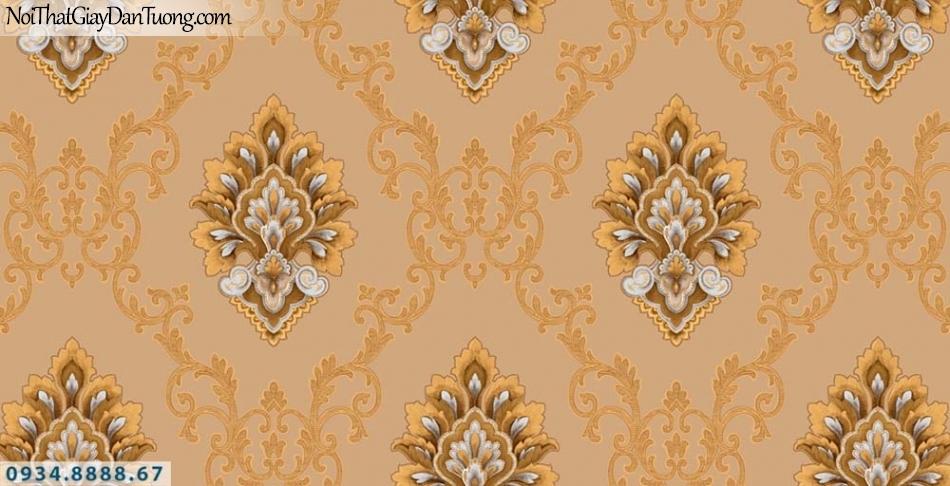 URANUS | Giấy dán tường hoa văn cổ điển màu vàng cam, ấn tượng và sang trọng| Giấy dántường Uranus 13002-2