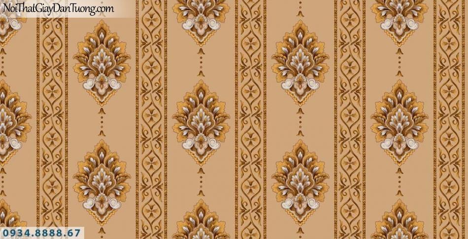 URANUS | Giấy dán tường kẻ sọc hoa văn, sọc bông màu vàng cam, sọc thẳng đứng | Giấy dán tường Uranus 13006-2
