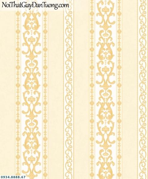 URANUS | Giấy dán tường kẻ sọc to nhỏ màu vàng, sọc lớn sọc bé, sọc thẳng đứng | Giấy dán tường Uranus 13007-1