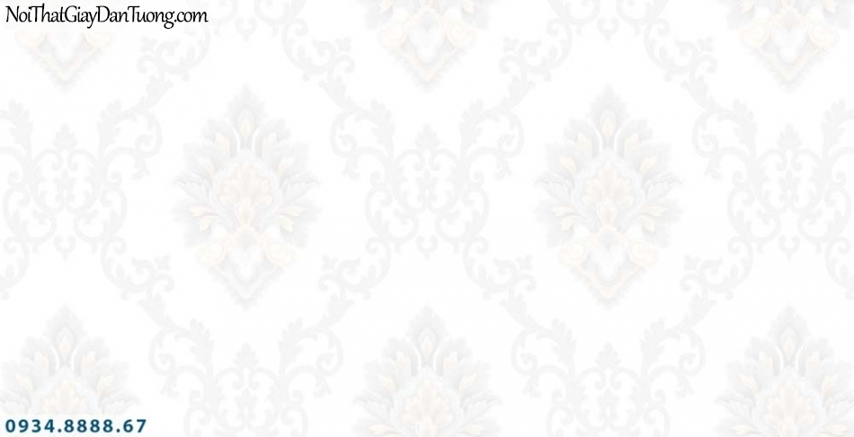 URANUS | Giấy dán tường màu trắng hoa văn họa tiết cổ điển Châu Âu | Giấy dán tường Uranus 13002-10