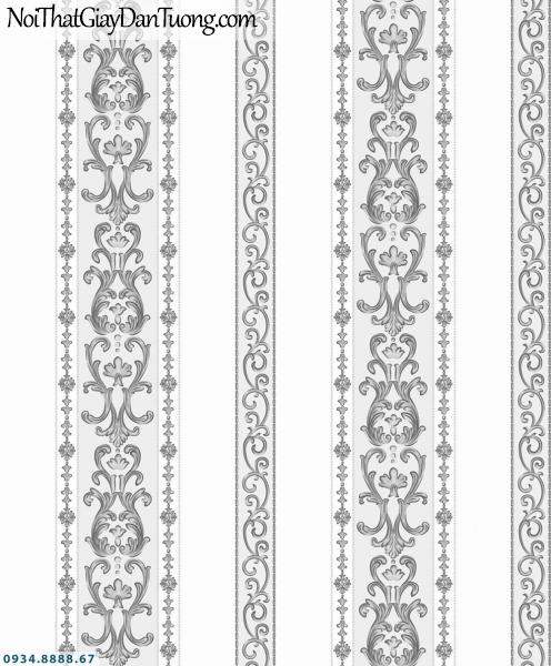 URANUS | Giấy dán tường sọc đen trắng, sọc to sọc nhỏ màu trắng đen, sọc hoa, sọc bông, sọc thẳng | Giấy dán tường Uranus 13007-5