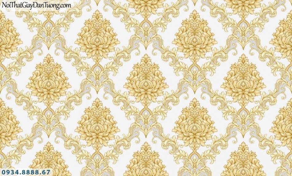 URANUS | Giấy dán tường cổ điển màu vàng, họa tiết chia kiểu ca rô, phong cách Châu Âu | Giấy dán tường Uranus 52028-5