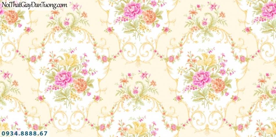 URANUS | Giấy dán tường cổ điển màu vàng, phù hợp với phòng ngủ sang trọng | Giấy dán tường Uranus 52012-3
