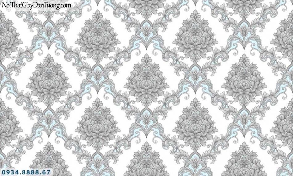 URANUS | Giấy dán tường cổ điển màu xám điểm xanh dương | Giấy dán tường Uranus 52028-1