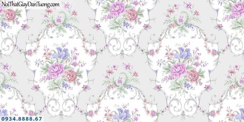 URANUS | Giấy dán tường hoa văn cổ điển màu tím, màu hồng, nhiều màu | Giấy dán tường Uranus 52012-2