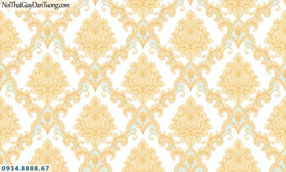URANUS | Giấy dán tường màu vàng cổ điển, vàng điểm xanh dương, đẹp sang trọng | Giấy dán tường Uranus 52028-2