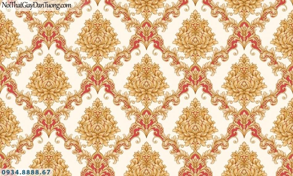 URANUS | Giấy dán tường màu vàng điểm đỏ, giấy cổ điển phong cách Châu Âu | Giấy dán tường Uranus 52028-3
