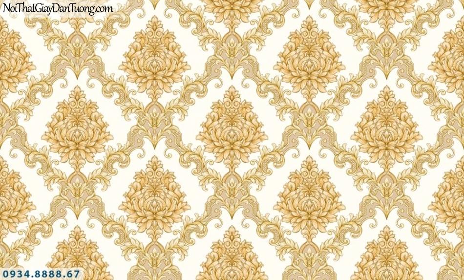 URANUS | Giấy dán tường màu vàng, hoa văn họa tiết cổ điển Châu Âu đẹp | Giấy dán tường Uranus 52028-4