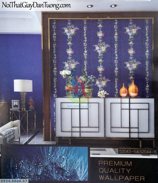 URANUS | Giấy dán tường dây hoa leo, dạng hoa leo tường màu xanh dương đậm, xanh than, tím than | Giấy dán tường Uranus 52043-5 - 52044-5