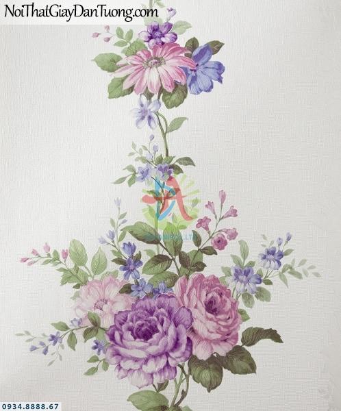 URANUS | Giấy dán tường dây leo dọc tường, hoa leo màu xanh nhạt | Giấy dán tường Uranus 52043-4
