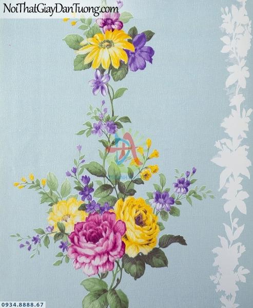 URANUS | Giấy dán tường hoa dây leo màu xanh dương, dãy bông hoa thẳng hàng dọc theo tường | Giấy dán tường Uranus 52043-1