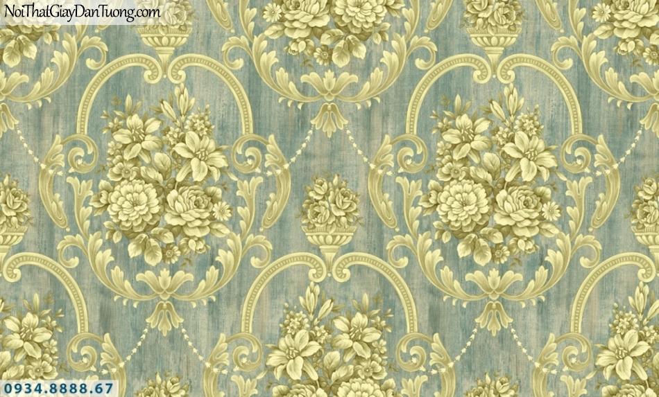 GRAVENTO | Giấy dán tường 3D, hoa văn họa tiết cổ điển, màu vàng, nền màu xanh | Giấy dán tường Gravento TL345572