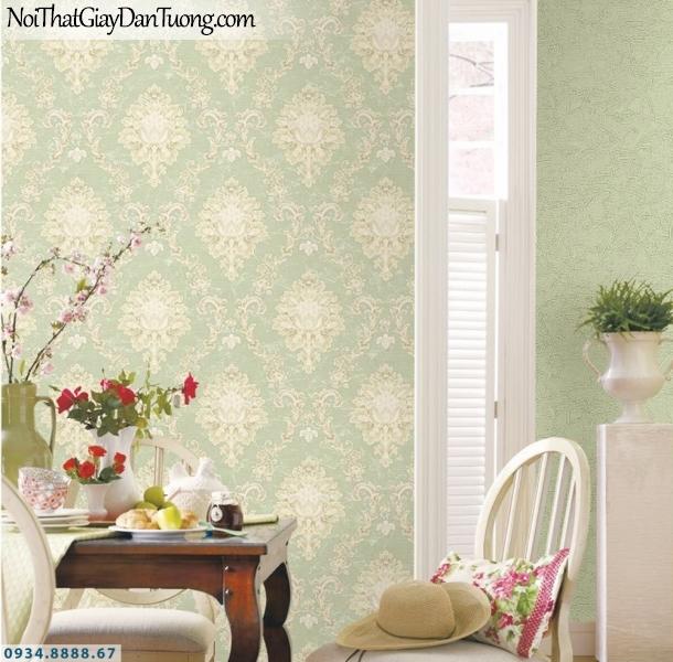 GRAVENTO | Giấy dán tường cổ điển bông màu vàng kem, nền màu xanh nhạt | Giấy dán tường Gravento TL345573