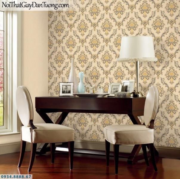 GRAVENTO | Giấy dán tường cổ điển sáng trọng màu vàng, phong cách Châu Âu đẹp | Giấy dán tường Gravento RA345643
