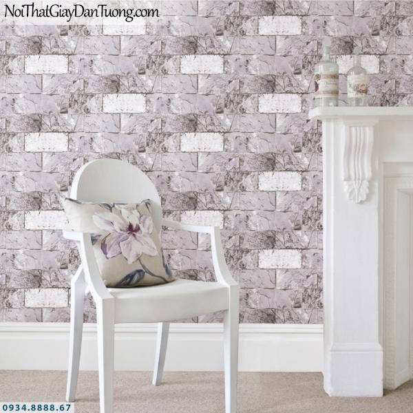 GRAVENTO | Giấy dán tường giả gạch màu xám, màu xám trắng, giả gạch 3D | Giấy dán tường Gravento PM345806