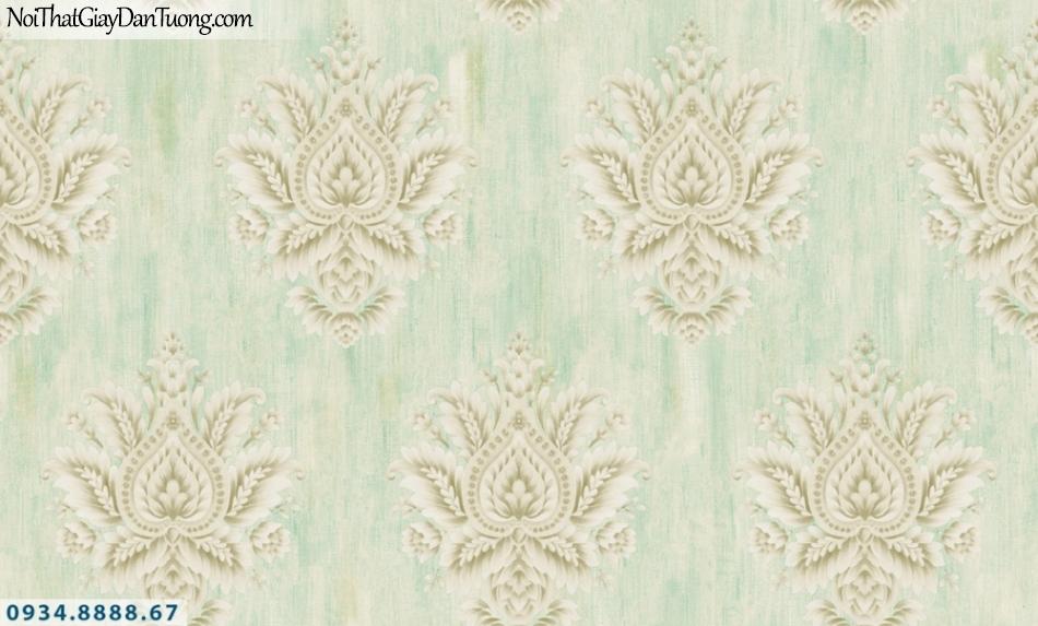 GRAVENTO | Giấy dán tường họa tiết cổ điển màu xám điểm xanh ngọc, xanh lá cây | Giấy dán tường Gravento PM345811