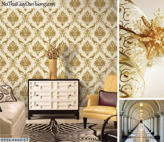 GRAVENTO | Giấy dán tường màu vàng đẹp, họa tiết cổ điển sang trọng, ấn tượng | Giấy dán tường Gravento TL345582