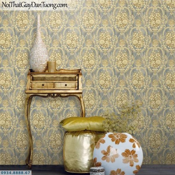 GRAVENTO | Giấy dán tường màu vàng đồng nền màu xám, hoa văn 3D cổ điển | Giấy dán tường Gravento TL345542