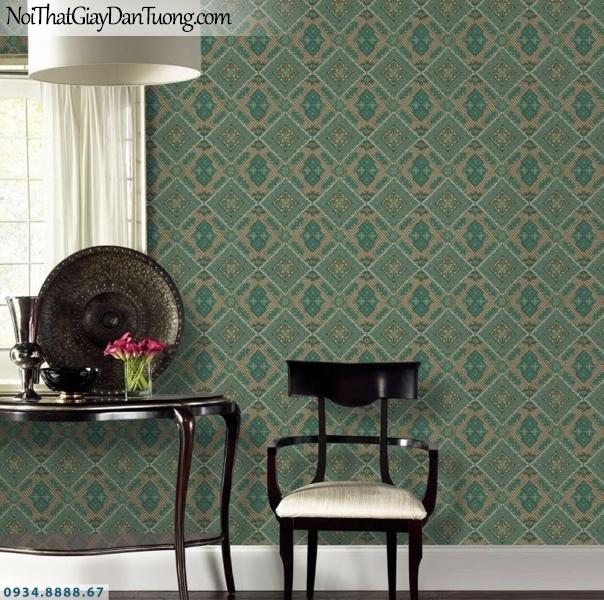 GRAVENTO | Giấy dán tường màu xanh ngọc, họa tiết ca rô, những ô vuông xếp thành hình thoi | Giấy dán tường Gravento TL345554