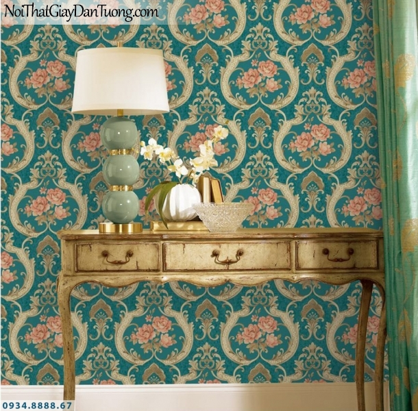 GRAVENTO | Giấy dán tường màu xanh ngọc, xanh lá cây, xanh cốm, hoa màu hồng, giấy cổ điển đẹp | Giấy dán tường Gravento TL345541