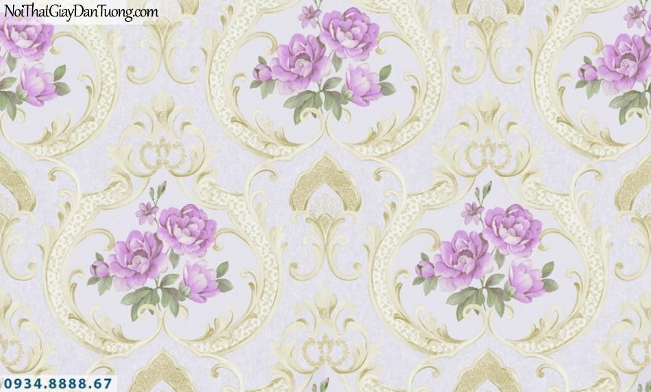 GRAVENTO | Giấy dán tường phong cách Châu Âu, giấy bông hoa màu tím | Giấy dán tường GD345743